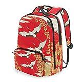 Lustiger japanischer Vogel-Rucksack mit Abnehmbarer Schultertasche für die Schule, Computertasche, Tagesrucksack für Kinder, Jungen und Mädchen