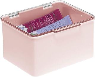 mDesign Caja con Tapa para la Cocina, la despensa o el despacho – Cajones de plástico sin BPA apilables – Cajas de ordenación compactas para artículos del hogar – Rosa/Transparente