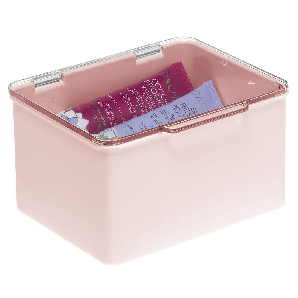 mDesign Caja con Tapa para la Cocina, la despensa o el despacho – Cajones de plástico sin BPA apilables – Cajas de ordenación compactas para artículos del hogar – Rosa/Transparente: Amazon.es: Hogar