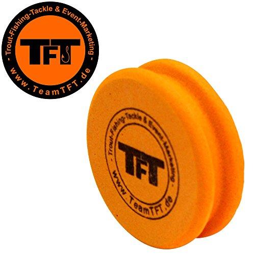TFT Montageröllchen 5x1,5cm orange für Forellenmontagen, Wickelrolle für Sbirolino- & Tremarella Montagen, Vorfachrolle