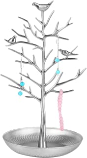 BESTOYARD Jewellery Organizer Birds Tree Jewelry Stand Display Earring Necklace Holder Jewellery Stand Rack Storage Silver
