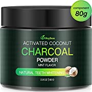 MayBeau Teeth Whitening Powder FDA Approved Natural Activated Charcoal Teeth Whitener Large Capacity 2.8OZ Organic Mint Flavor Coconut Charcoal Teeth Whitener for Removing Stains and Refreshing Breath