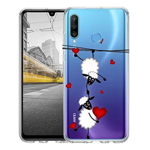 KX-Mobile Hülle für Huawei P30 Lite Handyhülle Motiv 2047 Schafe & Herzen Premium Silikonhülle durchsichtig mit Bild SchutzHülle Softcase HandyCover Handyhülle für Huawei P30 Lite Hülle