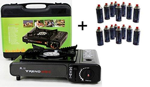 2-in-1 = gaskoker + 12 gascartouches gratis voor camping gaskachel voor gasoven.