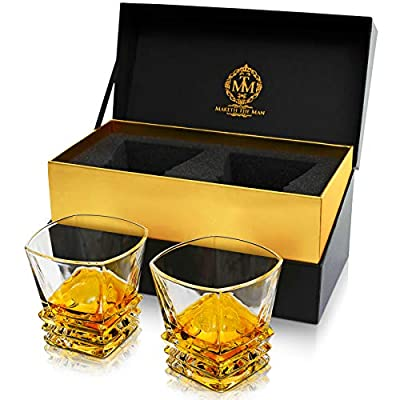 Art Deco Premium Quality Whiskey Glasses Set Of 2 In Elegant Gift Box. Lead-Free Crystal Liquor Tumblers, Dishwasher Safe For Whisky, Scotch, Bourbon Or Rum By Maketh The Man.