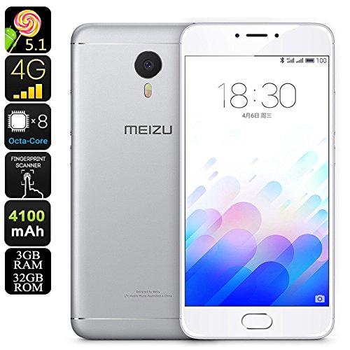 Meizu M3 Note Android Smartphone - 5.5-Inch FHD Display, Dual-IMEI, 32GB, Octa-Core CPU, 3GB RAM, 4G, 13MP Camera (Silver)