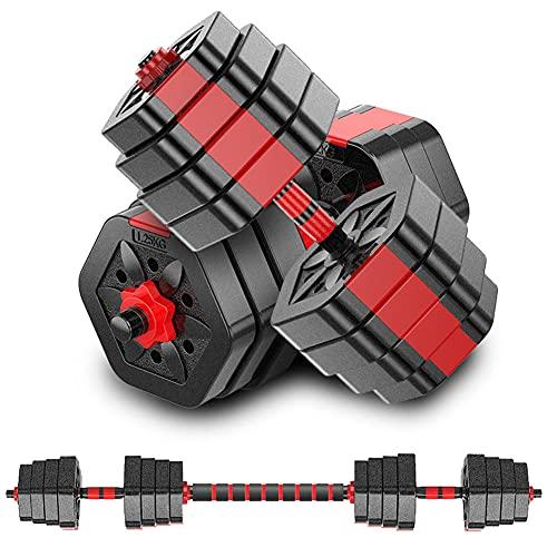 MOJEER ダンベル 可変式【最新進化版・3in1】10kg 20kg 30kg 40kg 2個セット バーベルにもなる ダンベル 無臭素材 静音 008 (15kg×2個セット/赤)
