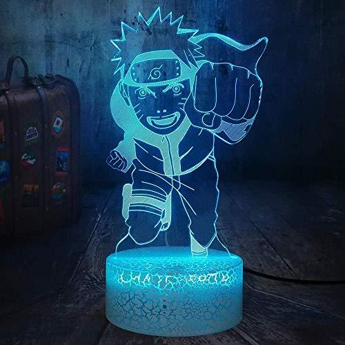Anime Flying Whirlpool Naruto 3D LED Optische Täuschung Nachtlicht RGB 7 Farbe Riss Weiß Basis Touch Tischlampe Home Decoration Geburtstagsgeschenk