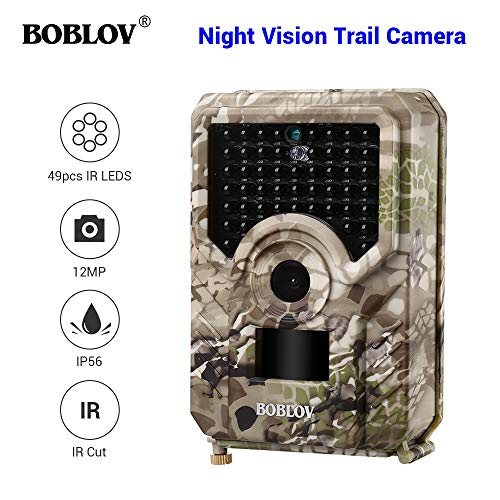 Boblov Beutekameras 16MP 1080P Full HD Jagdkamera IP56 Waterproof Wildkamera Nachtsicht wasserdichte Profi Tracker Trailkamera Wildtierkamera Fotofalle