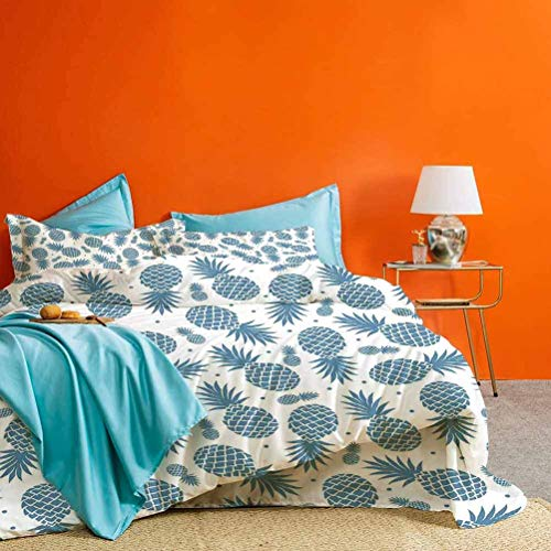 prunushome Pine Bedding Collection Island Themed Minimalistic Multi Sized Tropic Fruity Pine Printed Vintage Best Material/Highly Durable Blue White 3pcs (1 Duvet Cover and 2 Pillow Shams) King Size