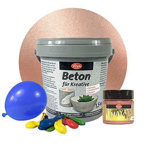 Beton-Set für kreative Windlichter (Set mit Farbe Rosé Gold) - Metallic Beton-Set für kreative Windlichter, Beton für Kreative, Windlichter, Schalen, Bastelbeton, Gießbeton, Maya Gold