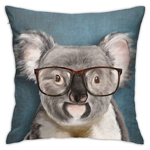 Funda de cojín suave con gafas y diseño de retrato colorido para decoración del hogar, coche, 60 x 60 cm
