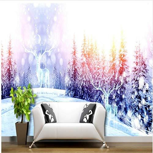 Preisvergleich Produktbild Xbwy Tapete 3D Winter Snowy Mountain Pine Elk Mysterious White World Wohnzimmer Hotel Hintergrundbild Wandbilder-250X175Cm
