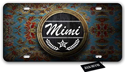 AVA-WVW Mimi flower License Plate | Funny Novelty Vanity Front License Plate Frame Cover Gift for Men Women | Decorative Metal Car Plate Sign Auto Tag | High Gloss Aluminum Plate 6 X 12 Inch (4 Holes)