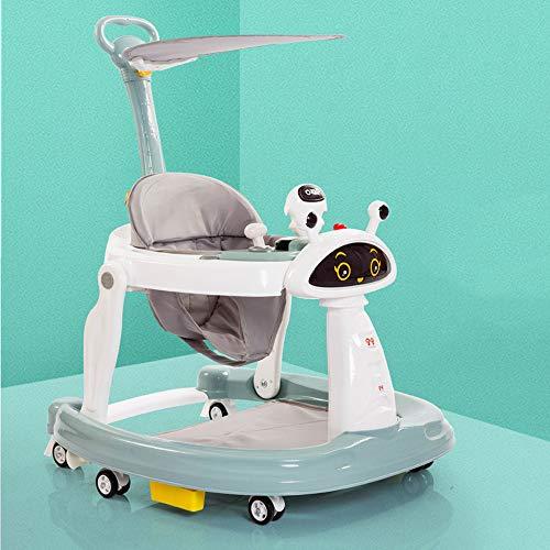 Lauflernhilfe, zusammenlegbare Multifunktionsroboter-Lauflernhilfe, höhenverstellbar, einstellbare Markisenrichtung, für 6 bis 18 Monate Babys geeignet, maximale Tragfähigkeit 20 kg,Lakeblue