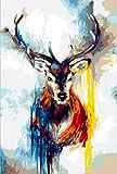 golden maple DIY Malen Nach Zahlen-Vorgedruckt Leinwand-Ölgemälde Geschenk für Erwachsene Kinder Kits Home Haus Dekor - Neun farbige Hirsche 40*50 cm