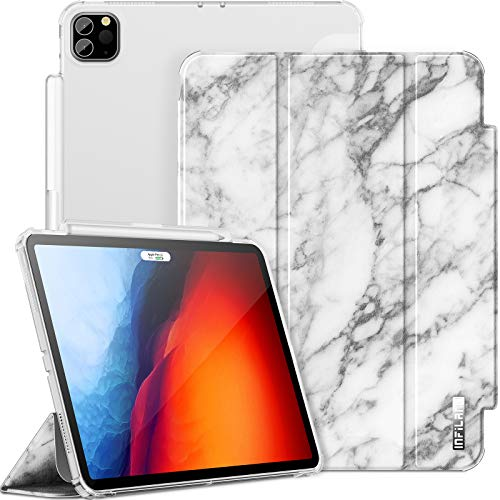 INFILAND iPad Pro 11 Inch Case 2020/2018 (2nd/1st Generation), [TPU Shockproof Stand] [Auto Sleep/Wake Cover] [Matte Ttranslucent Soft Case] [Pencil Holder] [Multiple Viewing Modes],Marble