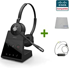Cisco Compatible Jabra Engage 65 Wireless Duo Headset Bundle with EHS Adapter, 9559-553-125-CIS41 | for Cisco Deskphones and PC/MAC - Cisco Models: Cisco 8941 and 8945 | Busy Light
