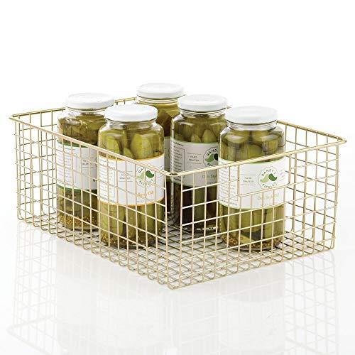mDesign Farmhouse Decor Metal Wire Food Organizer Storage Bin Baskets with Handles for Kitchen Cabinets Pantry Bathroom Laundry Room Closets Garage- Soft Brass