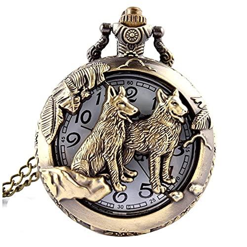 Unisex Pocket Watch Analog Quarz Retro Wölfe Taschenuhr mit Kette Weiß Zifferblatt Schwarz Arabische Ziffer Steampunk Taschenuhren Geschenke Bronze atmosphärische Uhr