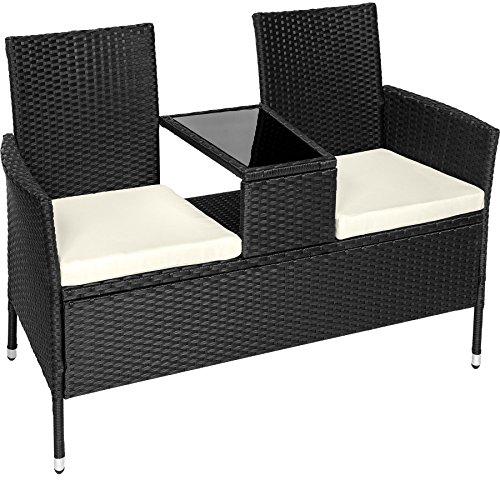 TecTake Salon de Jardin en résine tressée canapé Banc avec Table intégrée avec Verre de sécurité + Coussins - diverses Couleurs au Choix - (Noir | No. 401547)