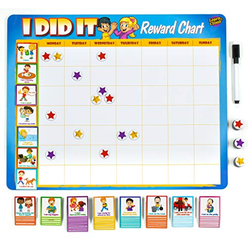 """Kids Behavior Reward Chart - 63 Chores as Potty Train, & More. """"Thick Magnetic"""" Responsibility Chart Board/Tasks-for Multiple Kids"""
