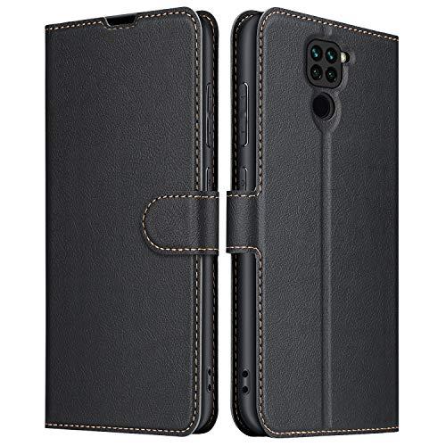 ELESNOW Hülle für Xiaomi Redmi Note 9, Premium Leder Flip Schutzhülle Tasche Handyhülle mit [ Magnetverschluss, Kartenfach, Standfunktion ] für Xiaomi Redmi Note 9 (Schwarz)