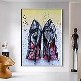 Stampe su tela Scarpe da donna nere con tacchi alti Graffiti Art Dipinti su tela Poster e stampe astratte Immagini di arte della parete per la decorazione domestica vivente Nordic Picture Mural