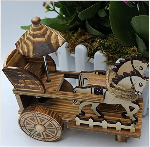 ZGFJST Caja de música Creativa Antigua de Madera del Carro del Caballo de Caballo de la música Caja de música Creativa Adornos de Madera Tamaño: 20 * 10 * 21cm