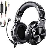 Auriculares con microfono, auriculares DJ con cable, auriculares HiFi de estudio con puerto compartido para monitor de grabación AMP de guitarra de piano e-drum (Negro)