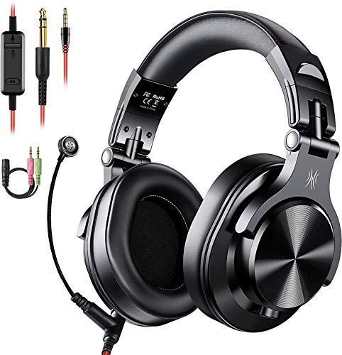 Auriculares OneOdio sobre la oreja, auriculares DJ con cable, auriculares HiFi de estudio con puerto compartido para monitor de grabación AMP de guitarra de piano e-drum (Negro)