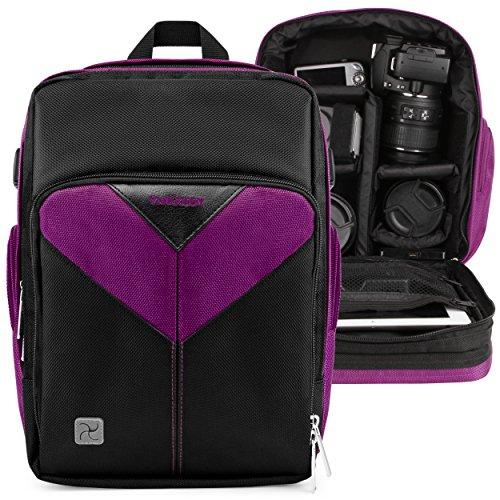 Photographer Camera Bag Purple for Nikon CoolPix L330, L340, B500, B700, P530, P610, L840, P900, P990, P1000, P7800