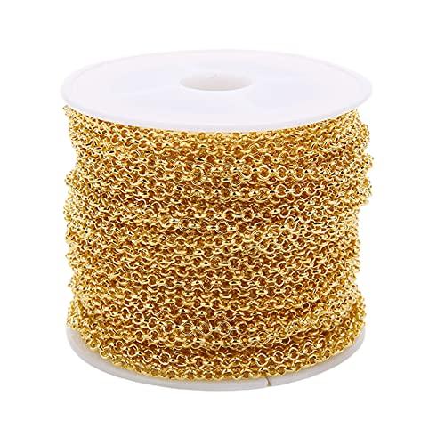 F Fityle Cadenas de Collar de 30 pies para Hacer Joyas, Cadena de 3 mm para Pulsera, Manualidades de joyería DIY - Oro