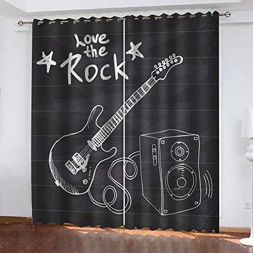 IZYLWZ Mörkläggningsgardiner sovrum musikinstrument elektrisk gitarr 3D supermjuka termiska isolerade gardiner mörkläggning öglor mörkläggningsgardiner för vardagsrum 2 paneler B 80 x L 71