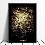 Leinwanddruck,Portland Schwarz Golden Custom Welt Stadtplan