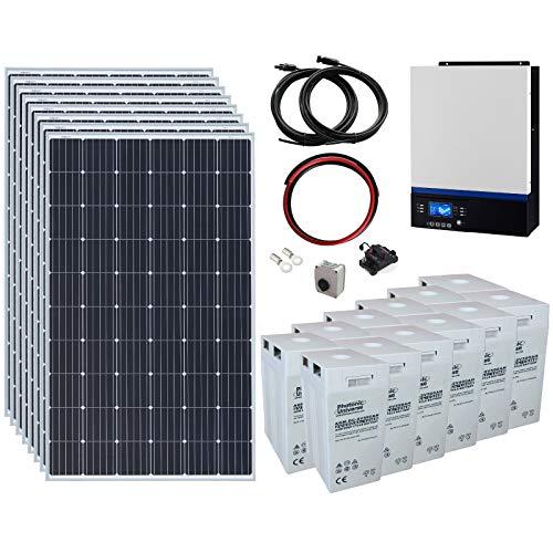 Sistema completo de energía solar fuera de la red de 2,4 kW 24 V con 8 paneles solares de 300 W, inversor híbrido de 3 kW y banco de baterías de 12 kWh.
