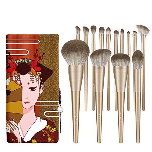 LXC Pinceaux de Maquillage 14 Ensembles avancés, pinceaux de Fond de Teint, Ensemble Complet d'outils de Maquillage Professionnels | Nano Brins Bioniques, Tube Doré Mat