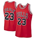 Canotta da Basket Uomo # 23 Chicago Bulls Retro Fitness Canotta Sportiva Traspirante Quick Dry Hot Press Canotta Sport Top S-XXL (Rosso,S)