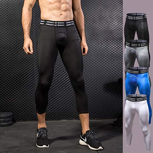 YABAISHI Heren PRO Zevende Van Sport Broeken Fitness Loopband Training Transpiratie Ademend Sneldrogend Stretch Tight Pants 7 (Color : Black, Size : XXL)