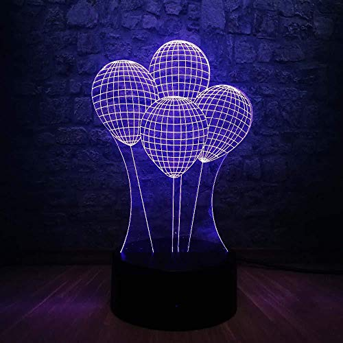 Christmas Gift Led Night Light 3D Night Light Kid Toy Gift 3D Led Lamp Romantic Outer Space Colorful Balloons Fashion Night Light Touch Dimmer Party Decor with Remote Control