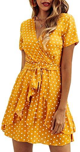 ECOWISH Women s V Neck Polka Dot Ruffles Mini Sexy Dress Short Sleeve Wrap Summer Dresses with product image