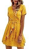 Spec4Y Damen Kleider V Ausschnitt Punkte Sommerkleid Rüschen Kurzarm Minikleid Strandkleid mit Gürtel Gelb XL