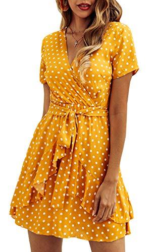 Spec4Y Damen Kleider V Ausschnitt Punkte Sommerkleid Rüschen Kurzarm Minikleid Strandkleid mit Gürtel Gelb L