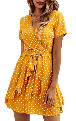 Romwe Women's Sweet Scallop Sleeveless Flared Swing Pleated A-line Skater Dress Yellow M