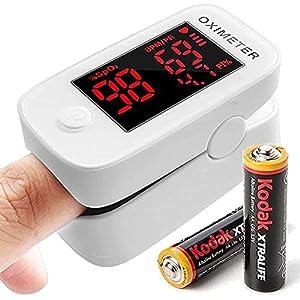Saturimetro, Pulsossimetro, Ossimetro, monitor della saturazione dell'ossigeno nel sangue SpO2 della frequenza cardiaca del dito dell'ossigeno per adulti e bambini con batterie