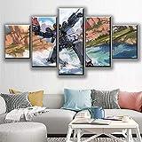 RTTGOR 5 Piezas Impresión Pintura HD Print 5 Set Shooting Poster Modular Video Home Decor Venta Directa Art Spray Painting Game Picture Wall Canvas