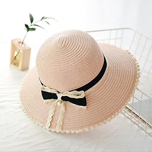Sonnenhut Strohhut Hut Damen Sonnenhut Schwarzer Bogen Hüte Frauen Faltbarer Stroh Strand Panamahut Visier Breite Krempe Weiblicher Schatten Hut Hut-Pink