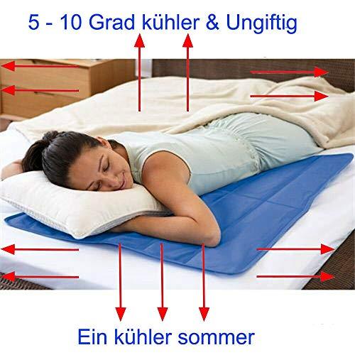 Kühlmatte Selbstkühlende Gel Pad Mat für Verbesserten Schlaf - Hilft Bei Migräne, Kopfschmerzen, Menopause, Nachtschweiß und Hitzewallungen,Re-Usable Relief, Pillow Insert XL,50x90CM