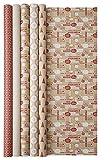 Clairefontaine Cosy - Rollo de papel para regalo, 2 m, color rojo [1 rollo - diseño aleatorio]