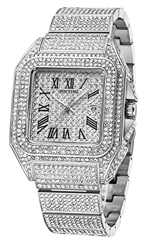 Men's Silver Fashion Crystal Watch Luxury Diamond Watch Big Face Square Full Bling Iced Out Watch for Men Hip Hop Rapper